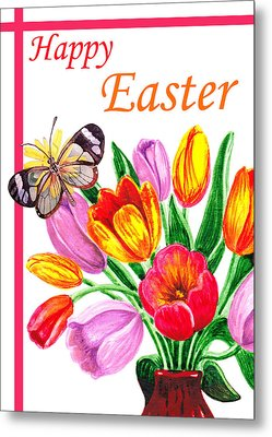 Happy Easter Butterfly Metal Print