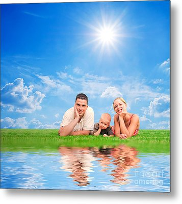 Happy Family Together On Grass Metal Print by Michal Bednarek