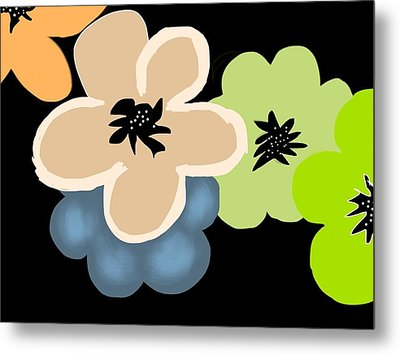Metal Print featuring the digital art Happy Flowers Blue by Christine Fournier