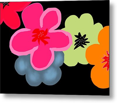 Metal Print featuring the digital art Happy Flowers Pink by Christine Fournier