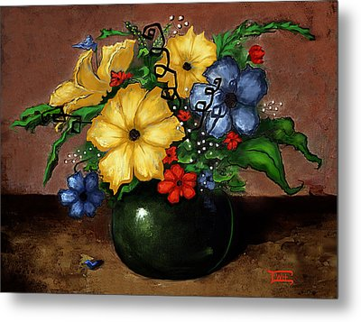 Metal Print featuring the painting Happy Flowers by Terry Webb Harshman
