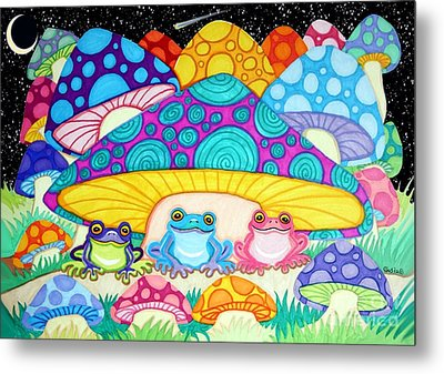 Happy Frogs In The Starlight  Metal Print
