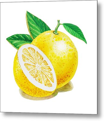 Metal Print featuring the painting Happy Grapefruit- Irina Sztukowski by Irina Sztukowski