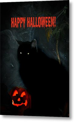 Happy Halloween Black Cat Metal Print by Michelle Frizzell-Thompson