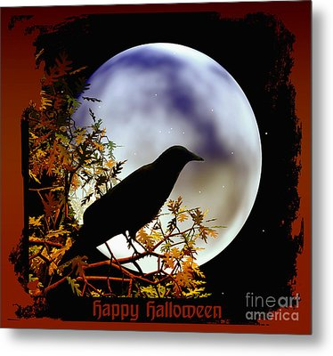 Happy Halloween Moon And Crow Metal Print by Eva Thomas