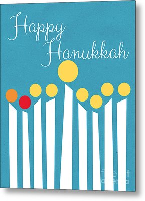 Happy Hanukkah Menorah Card Metal Print by Linda Woods