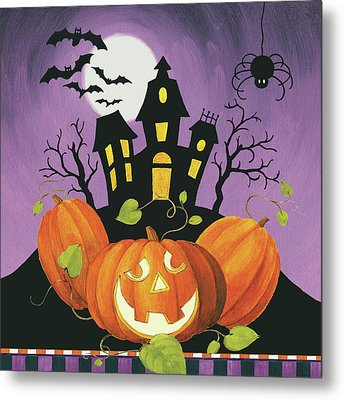 Happy Haunting House On Pumpkins Metal Print