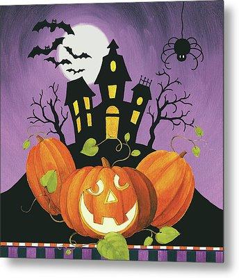 Happy Haunting House On Pumpkins Metal Print by Lisa Audit