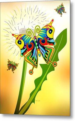 Happy Hippie Butterflies Metal Print by Bob Orsillo