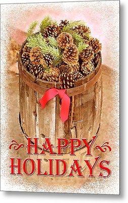 Metal Print featuring the photograph Happy Holiday Barrel by Cristophers Dream Artistry