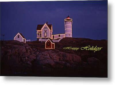 Happy Holidays At Nubble Metal Print by Skip Willits