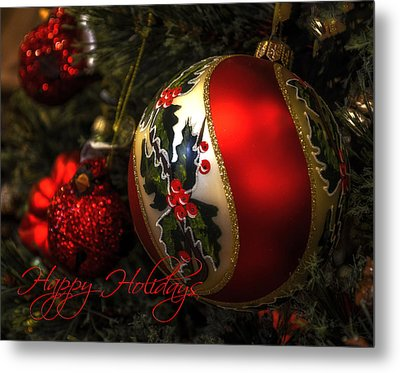 Happy Holidays Greeting Card Metal Print by Julie Palencia