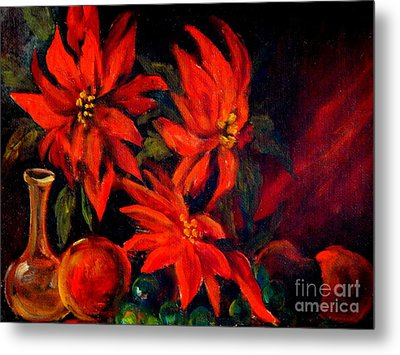 New Orleans Red Poinsettia Oil Painting Metal Print