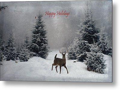 Happy Holidays - On A Snowy Evening  Metal Print