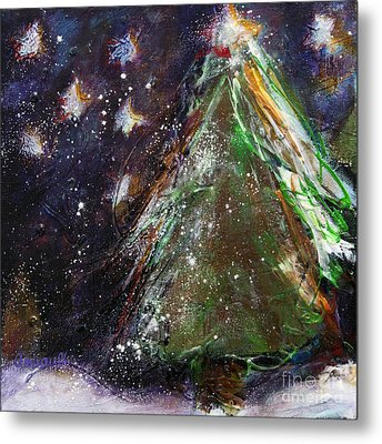 Happy Holidays Red And Gold Wishing Stars Metal Print by Johane Amirault