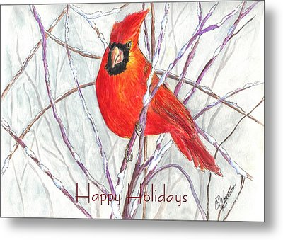 Happy Holidays Snow Cardinal Metal Print by Carol Wisniewski