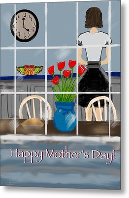 Metal Print featuring the digital art Happy Homemaker by Christine Fournier