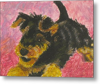 Metal Print featuring the painting Happy by Jeanne Fischer