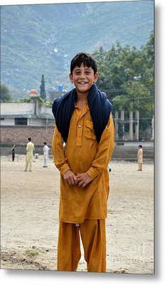 Metal Print featuring the photograph Happy Laughing Pathan Boy In Swat Valley Pakistan by Imran Ahmed