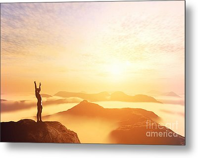 Happy Man With Hands Up On The Top Of The World Above Clouds Metal Print by Michal Bednarek