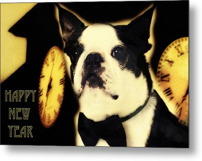 Happy New Year Dog Metal Print