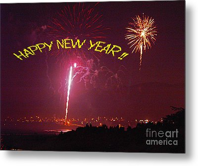 Metal Print featuring the photograph happy New Year fireworks by Gary Brandes