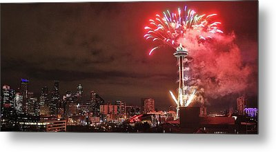 Happy New Year Seattle Metal Print by Benjamin Yeager