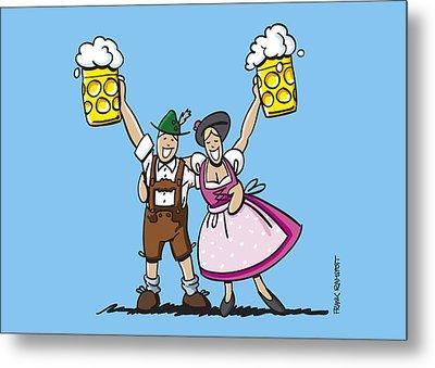 Happy Oktoberfest Couple Beer Metal Print