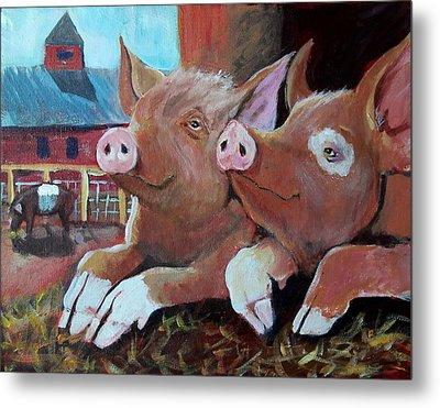 Happy Pigs Metal Print by Dona Davis