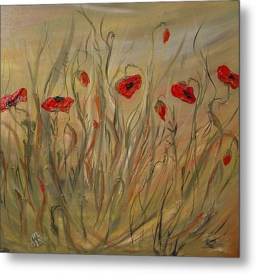 Metal Print featuring the painting Happy Poppies by Dorothy Maier
