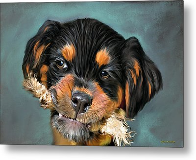 Happy Puppy Metal Print by Angela A Stanton