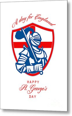 Happy St George A Day For England Greeting Card Metal Print by Aloysius Patrimonio