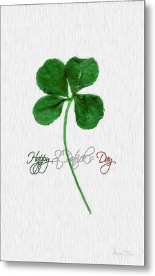 Happy St. Patrick's Day 4 Leaf Clover Metal Print