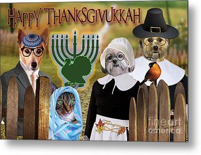 Happy Thanksgivukkah -1 Metal Print by Kathy Tarochione