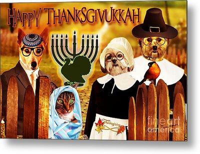 Metal Print featuring the digital art Happy Thanksgivukkah -5 by Kathy Tarochione