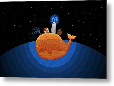 Happy Whale House Metal Print by Gianfranco Weiss
