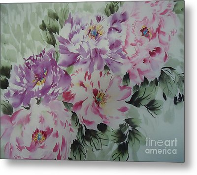 Metal Print featuring the painting Happyflower427012-1 by Dongling Sun