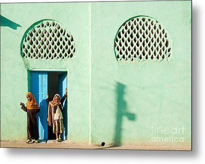 Harar Ethiopia Old Town City Mosque Girls Children Metal Print