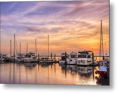 Harbor At Jekyll Island Metal Print by Debra and Dave Vanderlaan