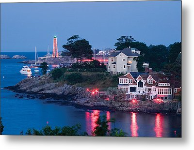 Marblehead Harbor Illumination Metal Print by Jeff Folger