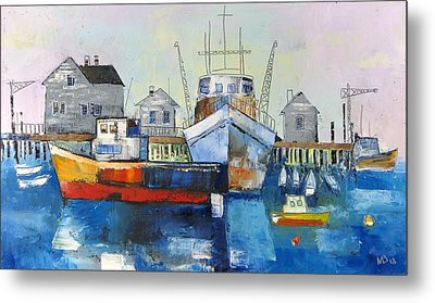 Harbor In The Maine Metal Print