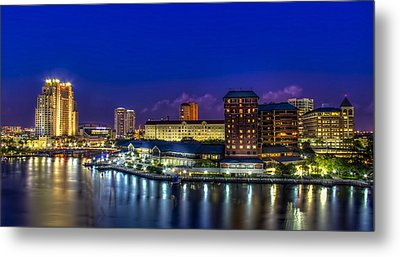 Harbor Island Nightlights Metal Print