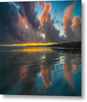 Harbor Jetty Reflections Square Metal Print by Larry Marshall