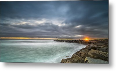 Harbor Jetty Sunset - Pano Metal Print by Larry Marshall
