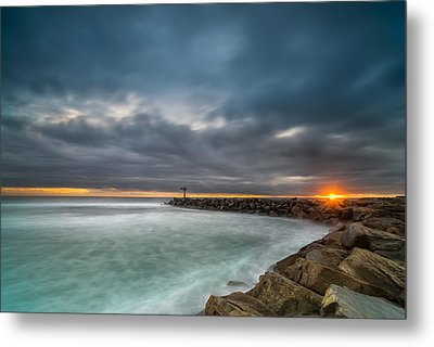 Harbor Jetty Sunset Metal Print by Larry Marshall