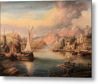 Harbor Scene  Metal Print by Dan Scurtu