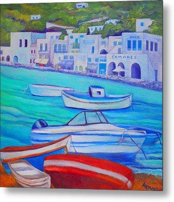 Harborfront Mykonos Metal Print
