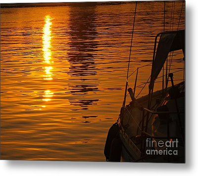 Metal Print featuring the photograph Harbour Sunset by Clare Bevan