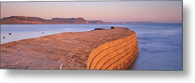 Harbour Wall At Dusk, The Cobb, Lyme Metal Print by Panoramic Images