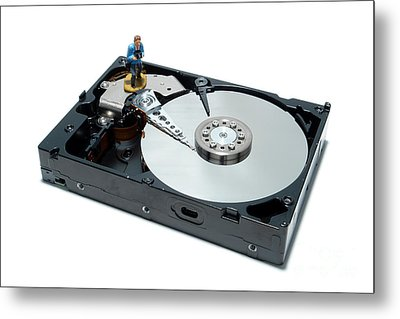 Hard Drive Backup Metal Print by Olivier Le Queinec